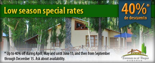Low season special rates: up to 40% off during April, May and until June 15, and then from September through December 15. Ask about availability.